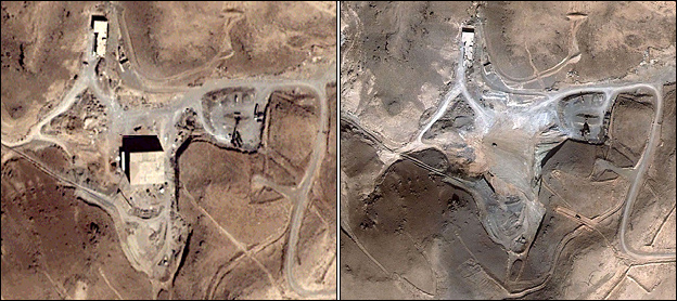Before and after satellite pictures of the suspected Syrian nuclear reactor